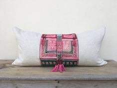 "Antique ethnic Hmong Embroidered Patch Organic Hemp Pillow Case 16"" x 32""  Bead Tassel embroidered ethnic ornaments One of a kind"