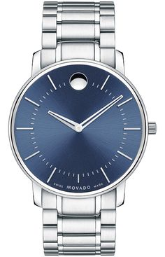 Movado TC - Men's Movado TC watch, ultra-thin 40 mm stainless steel case, round blue soleil dial with silver-toned signature dot, skeleton hands, applied stick markers and minute track, stainless steel link bracelet with deployment clasp, sapphire crystal, Swiss quartz movement, water resistant to 30 meters.