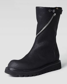 Zip-Around Flat Motorcycle Boot, Black by Rick Owens at Neiman Marcus.