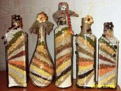decorative bottles with cereals for your kitchen