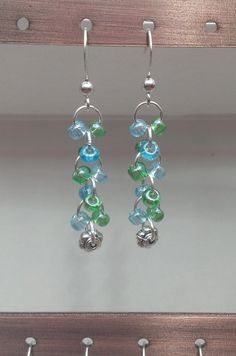 $8.99 FREE SHIPPING Blue & Green Glass Beaded Earrings by MysteryDealMichelle