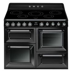 Black, Smeg Electric Range Cooker with 2 electric ovens and a 5 zone induction hob. Oven capacity top left bottom left 61 and top right 61 litres with an energy rating A/A. Also known as: Victoria Electric Range Cookers, Electric Cooker, Electric Stove, Induction Range Cooker, Victoria, Oberhitze Grill, Freestanding Cooker, Kitchens, Black
