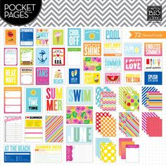 "Themed Cards -  Summer - Capturing memories is easy with POCKET PAGES™ journaling cards.  Each package contains 72 cards (12 - 4""x6"" cards and 60 - 3""x4"" cards).  There are a variety of horizontal and vertical layouts and each card has a journaling grid or dots printed on the back!"