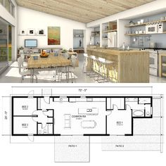 DesertRose,;,Inside this one-story FreeGreen home, you'll find a great room, three bedrooms and two baths (Houseplans.com),;,