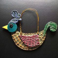Patterned bird - ceramic decoration