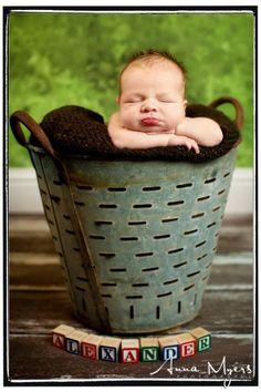 Vintage Olive Bucket with blocks in Newborn Studio session - San Francisco Bay Area Newborn photographer