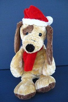 "Brown Christmas PUPPY DOG 11"" Floppy Soft TB Trading Plush Stuffed Toy"
