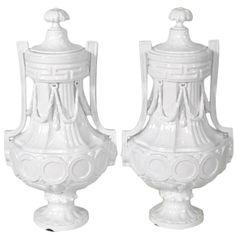 Pair Meissen Covered Urns