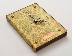 Book Wall Clock Vintage Inspired Green Texture, green wall clock, kitchen clock, recycled clock