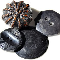 Antique Button Buffed and Wafers Celluloid Buttons Medium to Large Black Brown Group of 4 L1671. $6.20, via Etsy.