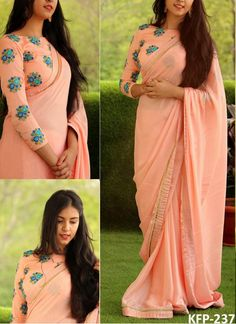 Discover thousands of images about Buy Georgette Light Peach Bollywood Replica Saree Best Blouse Designs, Simple Blouse Designs, Saree Blouse Neck Designs, Stylish Blouse Design, Sari Blouse, Saree Dress, Saris, Saree Designs Party Wear, Designer Blouse Patterns