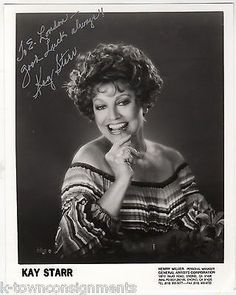 KAY STARR WHEEL OF FORTUNE SONG JAZZ SINGER AUTOGRAPH SIGNED STUDIO PROMO PHOTO