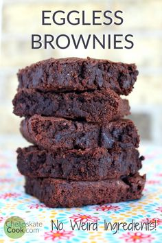 Gooey, perfect eggless brownies with no weird egg-replacer ingredients. Save money by trying this recipe instead of a classic brownie recipe! Egg-free with dairy-free and vegan options. From CheapskateCook.com