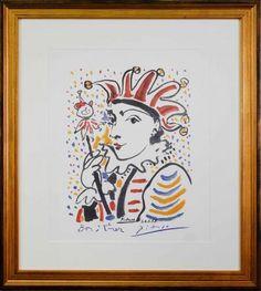 """J'ai repéré ce lot sur LotPrivé: Art Moderne - Pablo Picasso  (d'après) (1881-1973) """"ARLEQUIN"""" Lithographie Signée et datée """"26.01.58"""" dans la planche, Approuvé par la succession Pablo PICASSO,Format encadrée 67x60 cm.  Dimensions : 45x37"""
