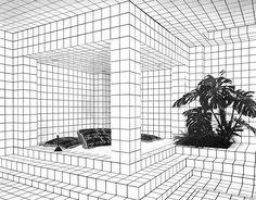 SO HOT RIGHT NOW // WHITE TILE BLACK GROUT INTERIORS | Jean-Pierre Raynaud's, La Maison de La Celle-Saint-Cloud | Yellowtrace