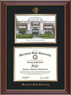 morehead state university diploma frame cherry lacquer wembossed msu seal name watercolor black on gold mat - Diploma Frames With Tassel Holder