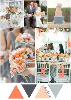Peach and Grey Rustic Country Wedding Colour Scheme - Wedding Blog - Wedding Colors - A Hue For Two | www.ahuefortwo.com