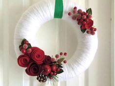 Bacca di Natale ghirlanda/rosso & bianca corona di saffronfields