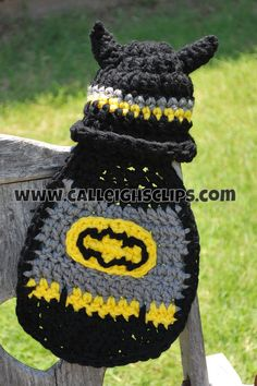 Crochet Batman Hat & Bib     I don't really care for the ears on the hat :(  Not a pattern :( :(