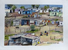 Informal Settlement in Aliwal North African House, African Art Paintings, Building Painting, African Crafts, South African Artists, Art Club, Camps, Italy Travel, Mosaics