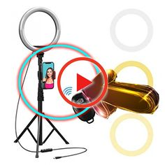 BONFOTO Dimmable Desktop Makeup Camera Ringlight for Photography,Compatible with iPhone//Android 10 LED Selfie Ring Light with Extendable Tripod Stand /& Phone Holder for Live Stream//YouTube Video