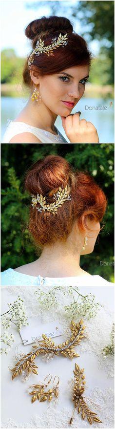 ON SALE Gold Hair vine Wedding hair piece Bridal Headpiece