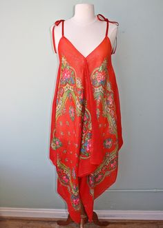 red floral metallic thread scarf dress