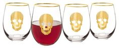 Cathy Halloween Gold Skull Wine Glasses