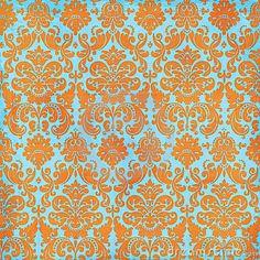 Crazy Summer Orange and Teal Damask Background by Jeri  Totten, via Dreamstime