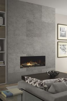 Latest Free Contemporary Fireplace decor Strategies Modern fireplace designs can cover a broader category compared with their contemporary counterparts. Tiled Fireplace Wall, Fireplace Feature Wall, Feature Wall Living Room, Linear Fireplace, Home Fireplace, Fireplace Remodel, Living Room With Fireplace, Fireplace Surrounds, Living Room Decor