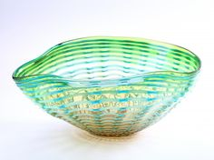 """New 15"""" Hand Blown Glass Murano Art Style Bowl Green Blue Ruffle Decorative Abstract. New Beautiful Hand Blown Glass Vase. Because each glass is a unique work of art made individually by hand, slight variations of size, colors and patterns are possible and your one of a kind glass may differ from the picture. Also, the vase may have small air bubbles due to the natural glass blowing process. Approx. Width: 12 inches, Approx. Height: 7.5 inches, Approx. Length: 15.5 inches. Colors: Blue…"""