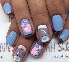 February nails, Bears nails, Cheerful nails, Heart nail designs, Hearts on… Heart Nail Designs, Best Nail Art Designs, Trendy Nail Art, Cute Nail Art, Ongles Hello Kitty, Love Nails, Fun Nails, Nail Art Design Gallery, Design Art