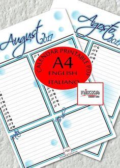 AUGUST monthly PRINTABLE calendar 2017 PLANNER  A4  pdf - CALENDARIO 2017 mese AGOSTO planner stampabile - A4 - pdf - download instantaneo - versione in italiano e versione in inglese - bolle blu