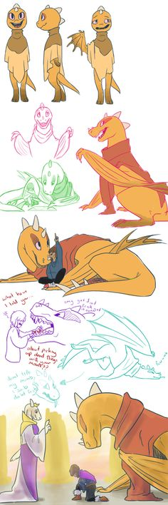 Undertale sketches_001 by QueensDaughters on DeviantArt--Monster Kid, Frisk, and Toriel. A super concept where Kid's a dragon!