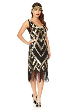 Glitz Great Gatsby Inspired 1920s Black Gold Fringe dress | USTrendy