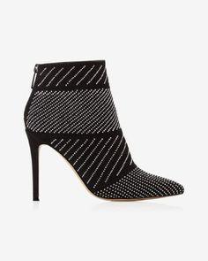 stud embellished heeled bootie