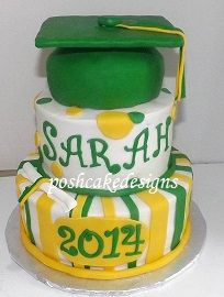 Yellow, green, white graduation cake. #graduation #graduationcake #diploma #poshcakedesigns.com