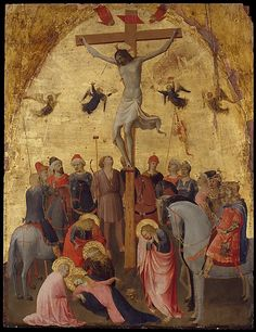 The Crucifixion Fra Angelico (Guido di Pietro)  (Italian, Vicchio di Mugello ca. 1395–1455 Rome) This picture is remarkable for its delicacy of execution and innovative composition, with the semicircle of mounted Roman soldiers.