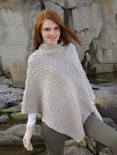 Our Aran Cable Poncho is like no other. The Aran poncho is made from wool with a intricate aran cable stitch throughout. Buy your Aran cable poncho today from Clanarans Cape En Crochet, Wool Cape, Wool Poncho, Knitted Poncho, Knit Crochet, Poncho Sweater, Knitting Designs, Knit Patterns, Cable Knit