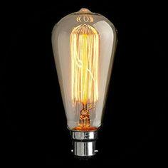 B22 / BC / Bayonet 40W 1920's Reproduction Filament Light Bulb
