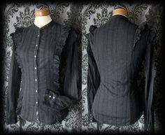 Goth Black Frilled Embroidery GOVERNESS High Neck Blouse 10 12 Victorian Vintage - £29.00
