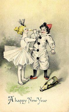 New Year Clown & Ballerina Vintage Postcard. Fun gift to frame!  By PostcardBoutique, $7.00