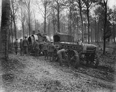 WW1, Sept 1916, Somme; Royal Garrison Artillery at work by the tractor engine…