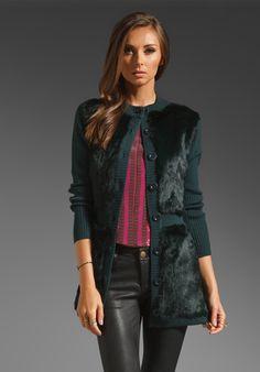 NANETTE LEPORE Divine Knit Sweater Coat in Hunter Green