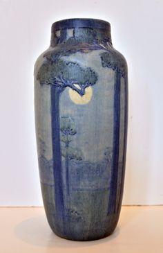 Newcomb College Matte Glaze Vase with St.Tammany Pines and Moon. Joseph Fortune Meyer, ceramicist & Sadie Irvine, artist. c.1918