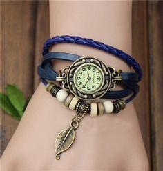 handmade charm watch vintage watch-purple