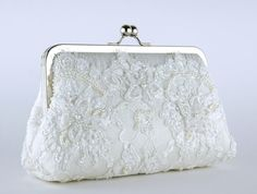 Bridal clutch Alencon Beaded and Appliquéd Lace  by EllenVintage, $98.00