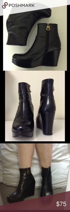"""MARC BY MARC JACOBS Black Wedge Booties 7.5 Cute, downtown-funky ankle boots. A tough-looking, MJ-branded zipper. 3.5"""" wedge heel with a 1.25"""" platform = height w/o the pain! Winning! In good shape. Some wear on the bottoms of the heels plus a slight groove on the outside of the right heel, but it's unnoticeable on & I only saw it when I was inspecting these kicks for flaws. If you want to add some of that very Sophia Coppola / M by MJ vibe to your look, you'll love these. Save an automatic…"""