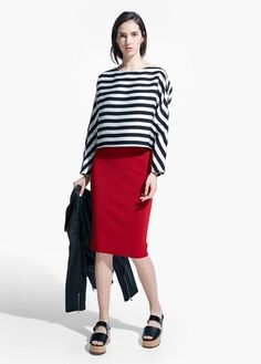 Knit Pencil Skirt from Mango R589,90