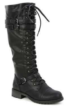 Black Timberly-65 Leatherette Triple Buckle Lace Up Knee High Boot